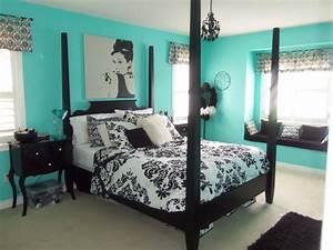 Elegant, Teal, And, Black, Bedrooms