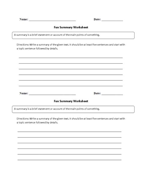 reading worksheets summary worksheets