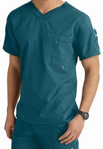 Grey's Anatomy Men's 3 Pocket High V-neck Scrub Tops ...