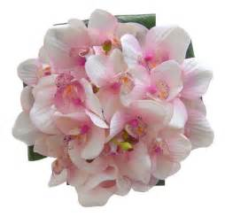 pink corsage pink silk orchid tropical bouquet with green leaves for a
