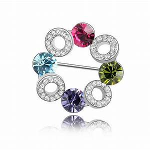 beautiful flower circle pin brooches crystal from With parure bijoux swarovski