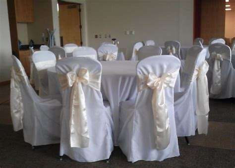 Ivory Satin Sash On White Chair Covers