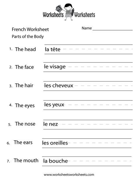 french body parts worksheet worksheets worksheets