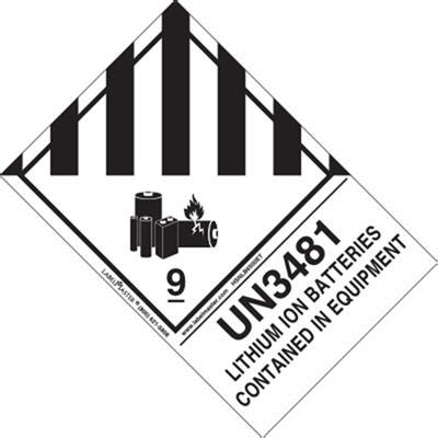 lithium ion batteries contained  equipment label