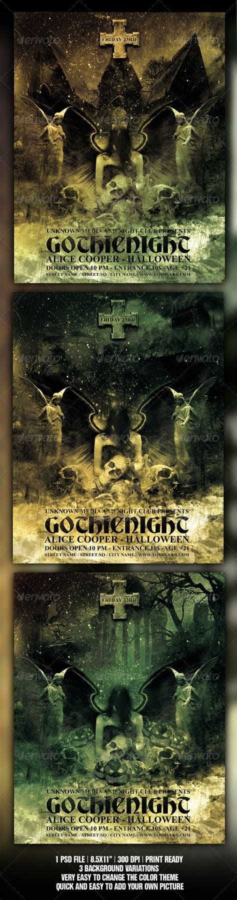 halloween gothic party flyer poster template