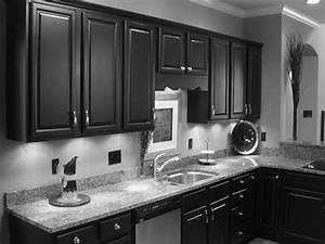 dark kitchen cabinets with grey walls mybktouch with With kitchen cabinets lowes with large black and white wall art
