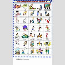 Everyday Life Action Verbs 2  Verbs Vocabulary  Pinterest  Action Verbs, Action And Printables