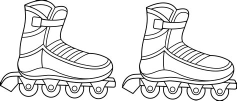 Rollerblades Colorable Line Art