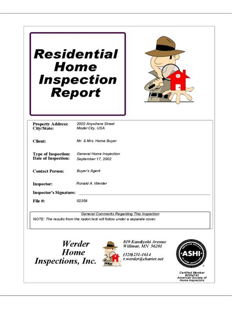 home inspection report   templates   word