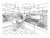 Supermarket Grocery Drawing Department Clipart Drawn Vegetable Illustration Interior Vector Hand Market Mall Drawings Super Premium Clipground Goods Concept sketch template
