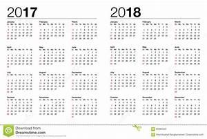 Calendário Para 2017 E 2018 Ilustração do Vetor