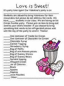 FREE Valentine s Party Parent Letter Ice Cream Sundae