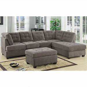 3 piece modern large tufted grey microfiber sectional sofa for Tufted sectional sofa microfiber