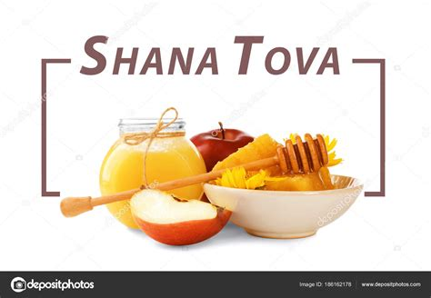 Shana Tova Images Texte Shana Tova Et Des Plats Traditionnels Tels Que Le