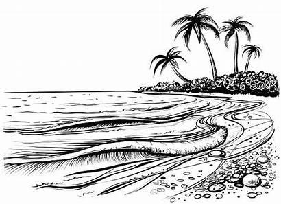 Ocean Drawing Waves Beach Sea Sketch Vector
