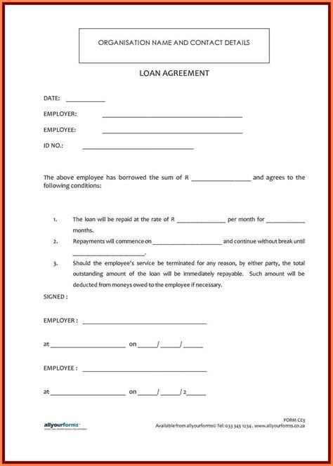 printable personal loan agreement form detail  loan