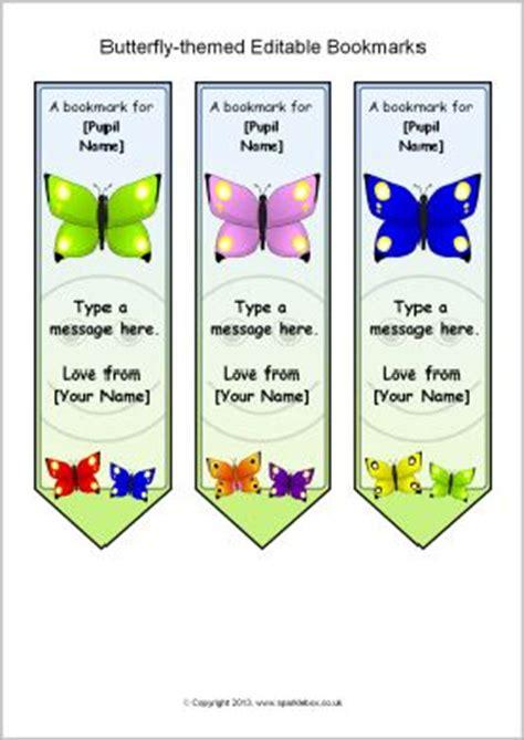 butterfly themed editable bookmarks sb sparklebox
