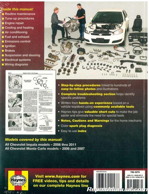 car repair manuals online pdf 2006 chevrolet monte carlo engine control haynes chevrolet impala monte carlo 2006 2011 auto repair manual h24047 3834518022400 ebay