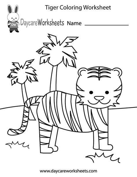 preschool tiger coloring worksheet