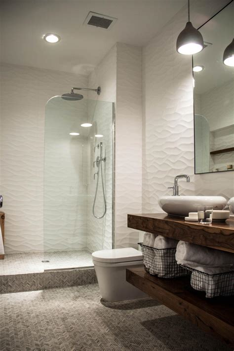 white modern bathroom  floating vanity  walk