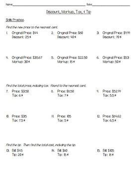 sales tax and discounts worksheet worksheets for all