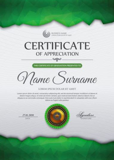 green certificate template  geometric shape vector