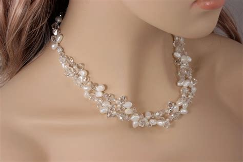 Hand Crafted Chunky Bridal Necklace  Statement Wedding