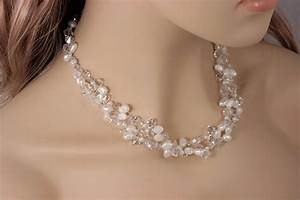 Hand crafted chunky bridal necklace statement wedding for Wedding ring necklace