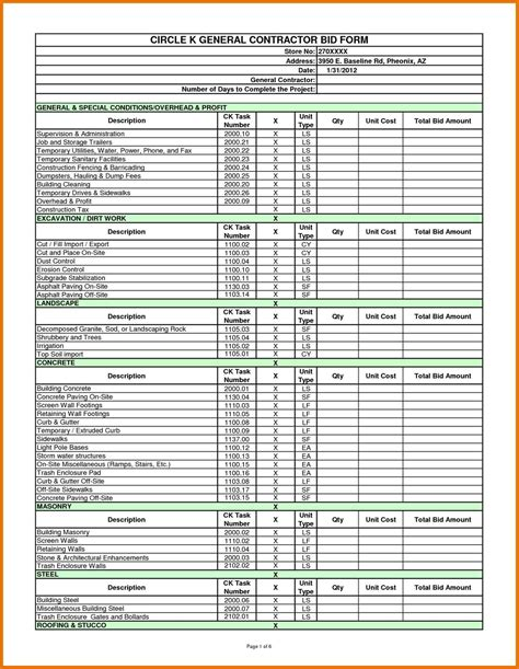 subcontractor bid form template  residential