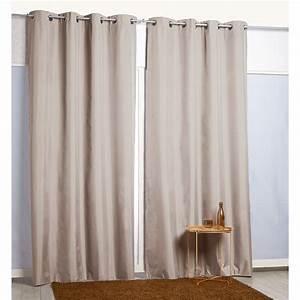 Rideau Occultant Gifi : rideau oeillets thermique beige rideau occultant ~ Melissatoandfro.com Idées de Décoration