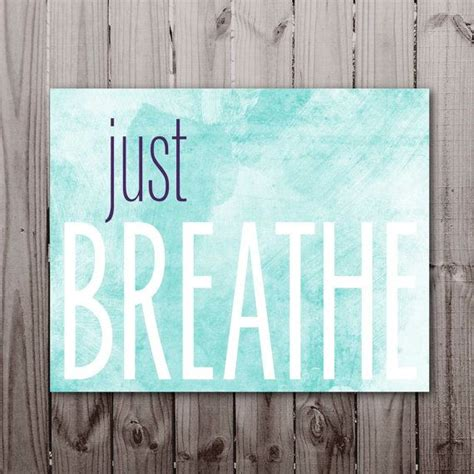 just breathe yoga print office printable typography quote