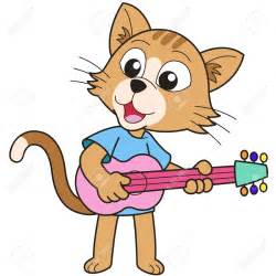 Cartoon Cat Playing Guitar