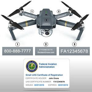drone decals labels faa uas registration certificate id card  hobbyist ebay