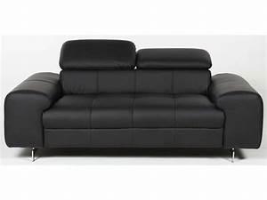Canapé fixe 2 places IRINA coloris noir Conforama Pickture