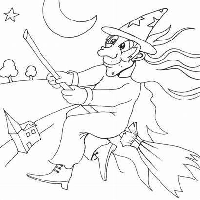 Witch Coloring Halloween Pages Colouring Flying Broom