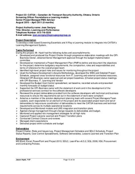 It Security Project Manager Resume by Jason Hyatt Pmp Resume Project Manager 2014 11 27