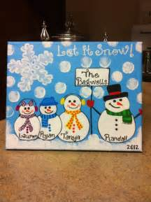Snowman Family Christmas Paintings On Canvas