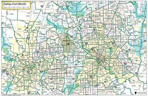 dallas fort worth wall maps  paper laminated  mounted
