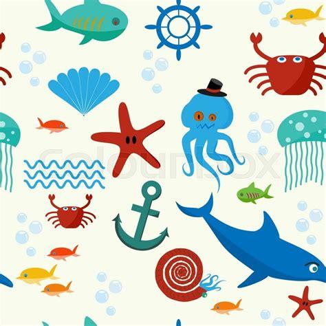 cute collection  cartoon sea animals stock vector