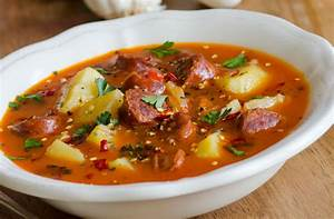 Spanish style potato and chorizo soup recipe goodtoknow