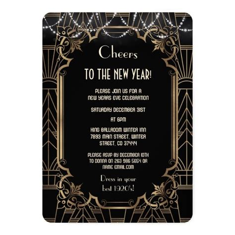 Gold Great Gatsby Black 20s Cheers New Year Party