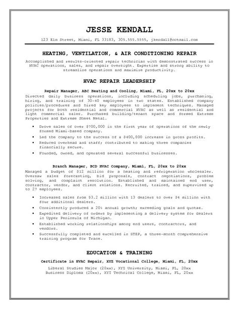 free hvac repair manager resume exle