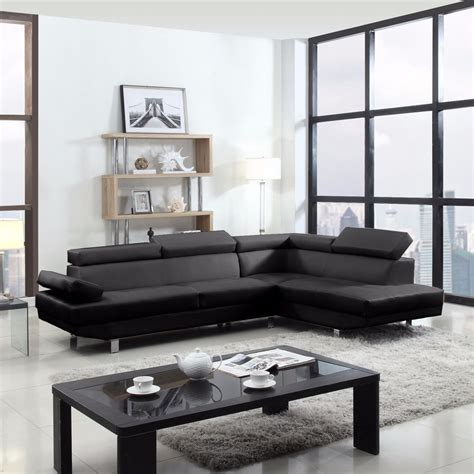 2 Piece Contemporary Modern Faux Leather Black Sectional