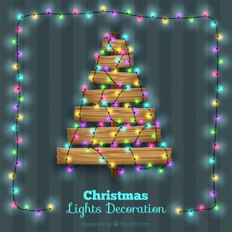 wooden tree with light decoration vector free