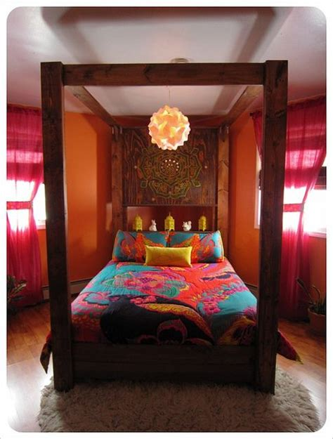 bohemian bedroom loving  solid wood canopy bed