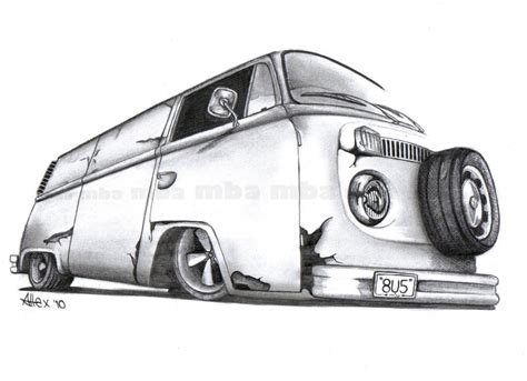 volkswagen bus drawing how to draw vw bus