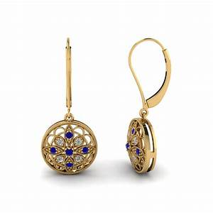 Antique Floral Drop Dangle Earring In 14K Yellow Gold Fascinating Diamonds