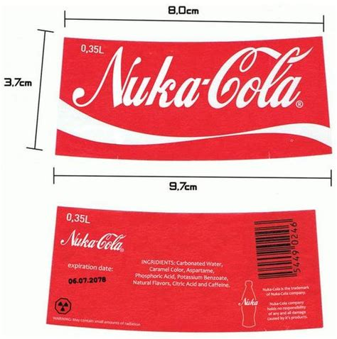 nuka cola quantum label printout nuka cola label fallout fallout 3 glasses