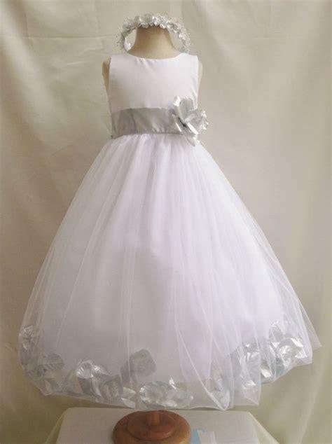 flower girl dress whitesilver petal wedding children