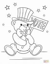 Coloring Pages Election Patriotic Teddy Bear Preschool Printable Getcolorings Colorin Crafts Date Categories sketch template